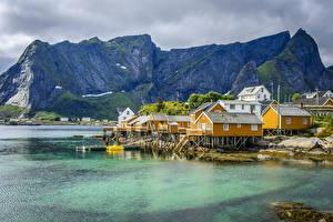 Images Norway Building Mountains Lake Lofoten Cities