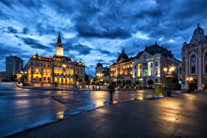 Photo Houses Serbia Street Night Street lights Novi Sad Cities