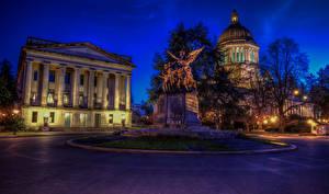 Bilder USA Haus Denkmal Washington, D.C. Nacht Straßenlaterne State Capitol Städte