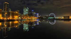 Hintergrundbilder USA Gebäude Fluss Seattle Nacht