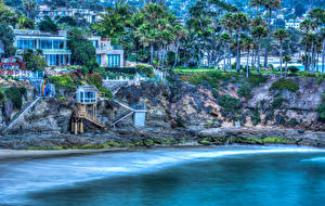 Fotos USA Küste Gebäude Palmen HDR Laguna Beach Städte