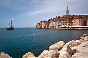 Images Croatia Sea Houses Waterfront Rovinj, Istria, Adriatic Sea Cities Nature
