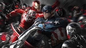 Wallpapers Avengers: Age of Ultron Iron Man hero Captain America hero Battles Heroes comics Men Fantasy