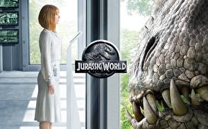 Bilder Jurassic World Dinosaurier Fenster Bryce Dallas Howard Film Mädchens
