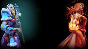 Wallpaper DOTA 2 Crystal Maiden Lina Sorcery Warriors Redhead girl Mage Staff Fantasy
