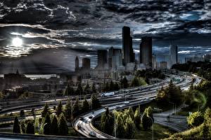 Fotos Straße Haus USA Seattle HDR Wolke Städte