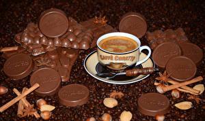 Fotos Getränke Kaffee Schokolade Nussfrüchte Zimt Getreide Tasse Lebensmittel
