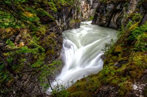 Hintergrundbilder Kanada Park Wasserfall Canyon Laubmoose Jasper park Maligne Canyon