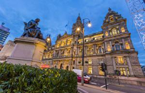 Hintergrundbilder Haus Denkmal Abend Stadtstraße Straßenlaterne Glasgow