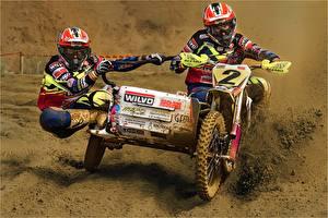 Wallpaper Motocross Mud Two Helmet Sport Motorcycles
