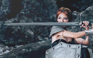 Fonds d'écran Asiatique Guerrier Épée Bouclier Filles Fantasy
