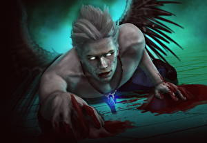 Papel de Parede Desktop Devil May Cry Anjo Homem Asa Sangue Fantasia