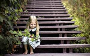 Bilder Treppe Kleine Mädchen Sitzend Kinder