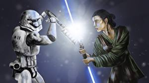Picture Star Wars - Movies Fighting Clone trooper Lightsaber 2 Swords Rey vs Stormtroop Movies Fantasy