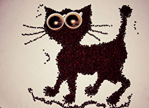 Fotos Kaffee Katze Getreide Tasse Design Lebensmittel