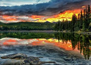 Hintergrundbilder Kanada Sonnenaufgänge und Sonnenuntergänge Park Gebirge See HDRI Bäume Jasper park Pyramid Lake Alberta