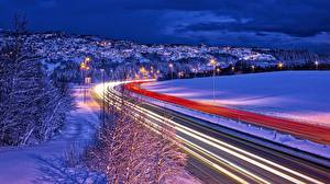 Wallpapers Norway Roads Winter Driving Night time Trondheim Cities