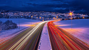 Picture Norway Roads Winter Motion Night Trondheim Cities