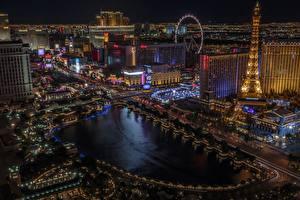 Fotos USA Gebäude Las Vegas Nacht Eiffelturm Von oben Städte