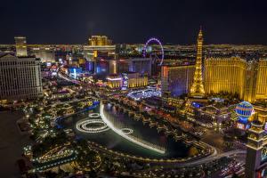 Hintergrundbilder USA Gebäude Las Vegas Nacht Eiffelturm Von oben Städte
