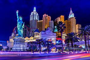 Hintergrundbilder USA Gebäude Las Vegas Nacht Freiheitsstatue
