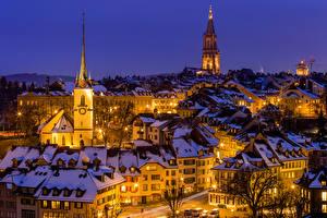 Image Switzerland Houses Winter Bern Night time Street lights Cities