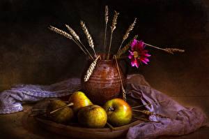 Hintergrundbilder Äpfel Stillleben Kanne Ähre das Essen