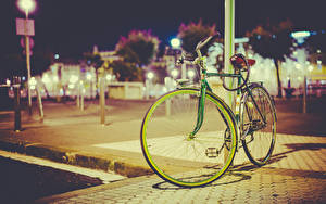 Pictures Bicycles Street Night time Cities