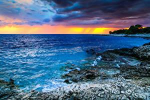 Pictures Croatia Sunrise and sunset Coast Sea Scenery Nature