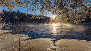 Fotos Finnland Flusse Ast Eis Natur