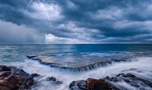 Wallpaper Sea Coast Waterfalls Horizon Lightning bolts Nature