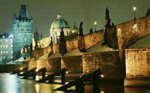 Pictures Czech Republic Prague Bridges Charles Bridge Night Towers Cities
