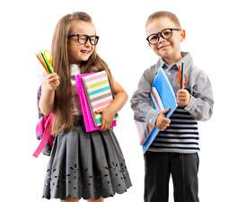 Pictures Little girls Boys Glasses Two Pencil Skirt Notebooks Children