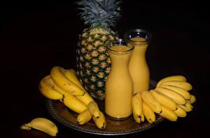 Bilder Ananas Bananen Milch Saft Flasche Lebensmittel