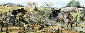 Wallpapers Cannon Soldiers War Painting Art  military