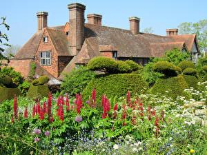 Wallpaper United Kingdom Building Gardens Lupinus Shrubs Cotswolds Nature