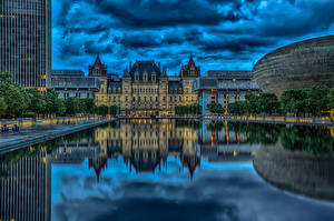 Fotos Vereinigte Staaten New York City Gewitterwolke HDR State Capitol, Albany Städte