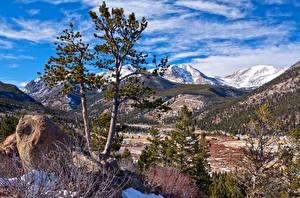 Fotos Vereinigte Staaten Park Gebirge Himmel HDRI Bäume Rocky Mountain National Park Natur