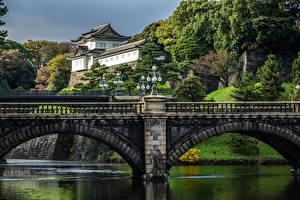 壁纸、、日本、東京都、川、橋、宮殿、Imperial Palace、都市