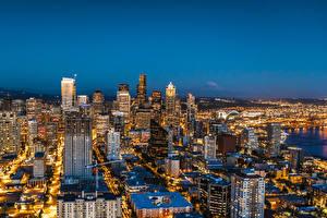 Hintergrundbilder Vereinigte Staaten Haus Seattle Megalopolis Nacht