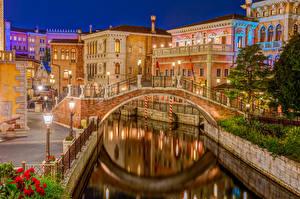 壁纸、、橋、川、建物、東京都、日本、運河、夜、DisneySea、都市
