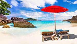 Fotos Thailand Landschaftsfotografie Tropen Steine Küste Regenschirm Sonnenliege Strand Phuket Natur