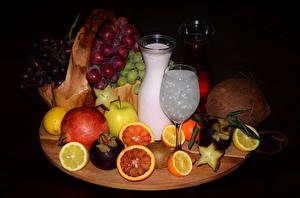 Pictures Fruit Milk Grapes Citrus Pomegranate Coconuts Bottles Stemware Food