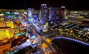 Fotos Vereinigte Staaten Haus Straße Las Vegas Megalopolis Nacht Straße Von oben Städte
