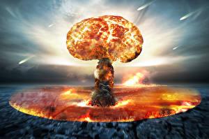 Bureaubladachtergronden Explosie nuclear bomb Militair