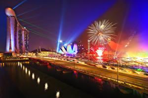 Images Singapore Fireworks Roads Bridge Night time Marina Bay Sands Cities