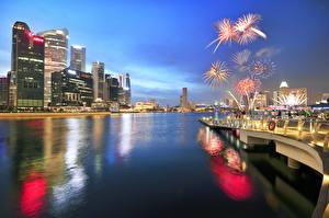 Image Singapore Fireworks Night Cities