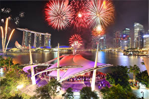 Picture Singapore Fireworks Night Marina Bay Sands Cities