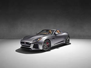 Hintergrundbilder Jaguar Grau Cabrio 2016 F-Type SVR convertible Autos