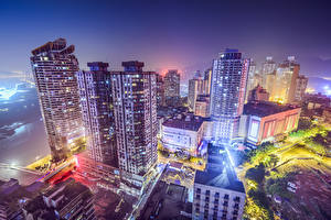 Wallpapers China Houses Skyscrapers Night time From above Chongqing Cities